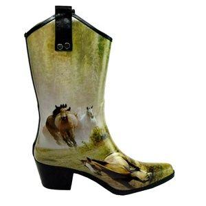 Smoky Mountain Horse Print Rubber Cowboy Boots 9
